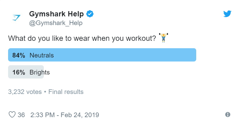 Gymshark engaging their customers through a twitter poll