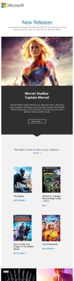 Microsoft Store giving several options in their newsletter