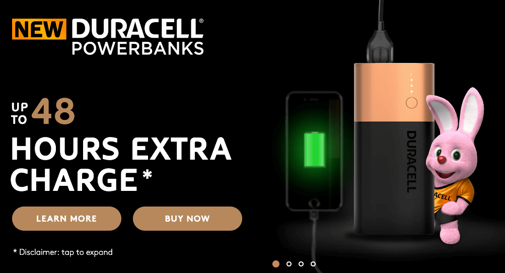 Value proposition on a landing page by Duracell