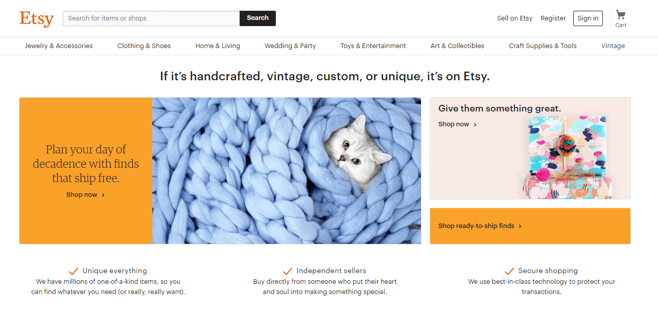Etsy clearly displays its value proposition