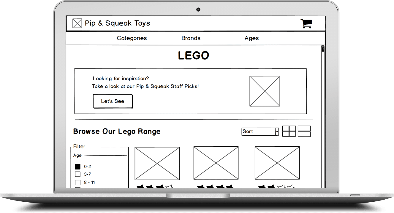 Wireframes used for visualizing user experience