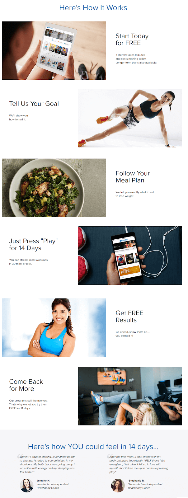 Beachbody on Demand landing page shows the value of the product