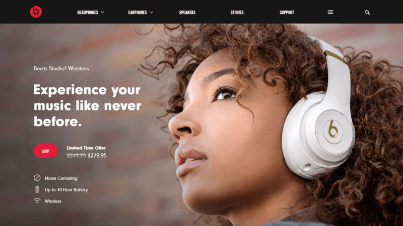 Beats by Dre features a realistic and inspirational landing page