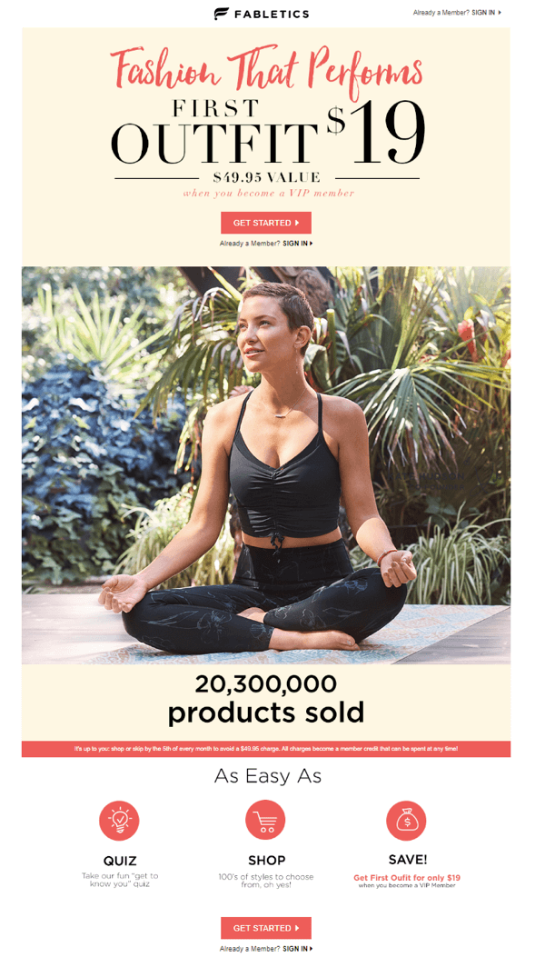 Fabletics feature no navigation bar on the landing page