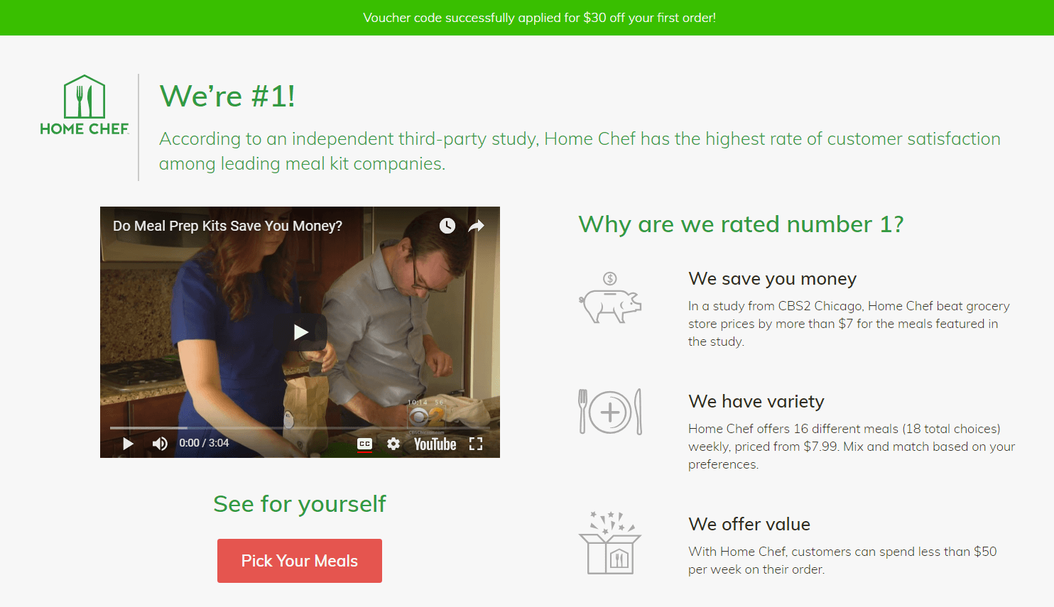 Home Chef chose a bright CTA button that stands out