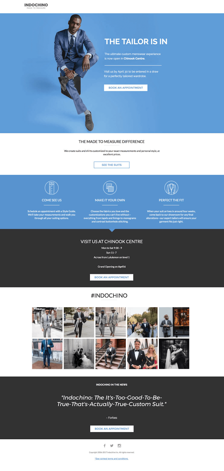 Indochino's landing page has a perfect color balance