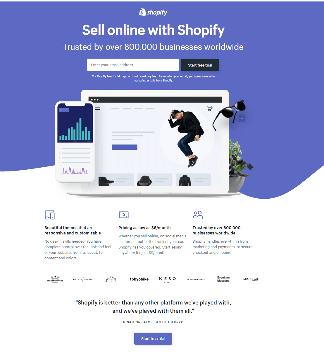 Shopify includes social proof on their landing page