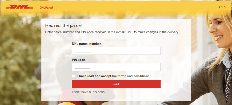 DHL enables you to redirect your package or change the address of the delivery.