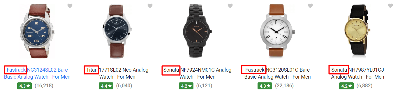 Watch title with brand