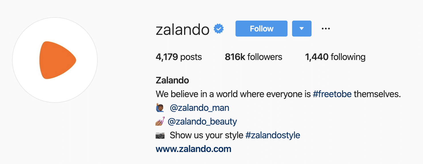 Zalando's dedicated hashtag