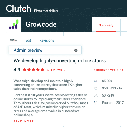 The graphic presents a description of Growcode and opinions on the Clutch website