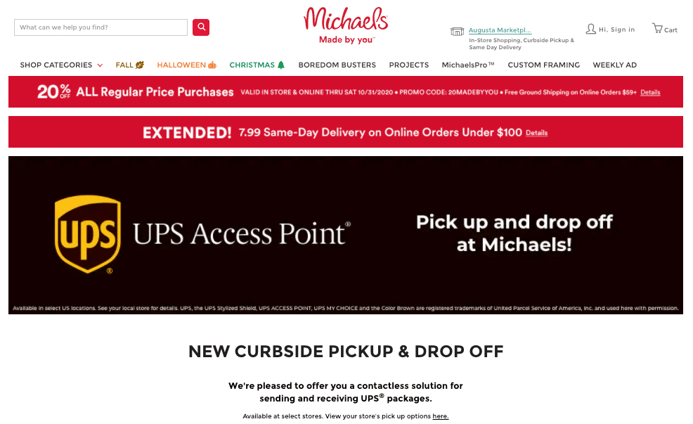 Michaels offers same-day store pickup